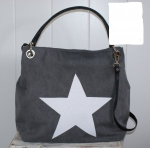 neu ITALY schönste XXL Tasche ~ Grau Canvas + Leder großer Stern ~ Shopper Büro Uni Schule