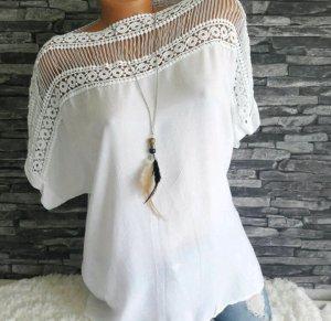 Neu Italy Shirt Bluse Tuniks Häkel Weiß Oversize S 38