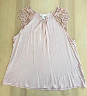 NEU Jerseytop mit Spitze Gr. S H&M rosa rosé pastell Top Spitze Shirt Spitzentop Spitzenshirt Oberteil romantisch verspielt A-Linie