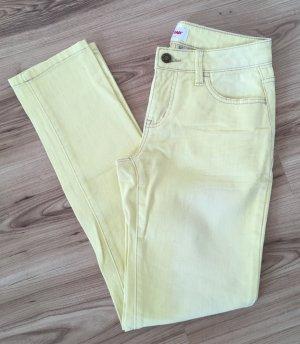 NEU John Baner Jeanswear XS 34 Boyfriend Damen Jeans Chino Gelb Pastell Slim Fit