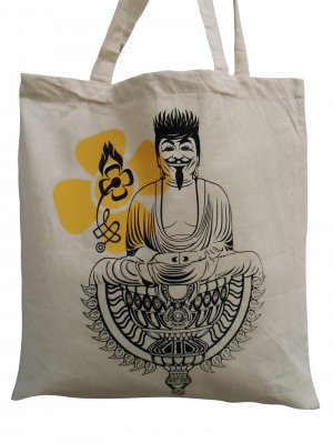 NEU: Jutebeutel Stoffbeutel Tragetasche lange Henkel, Beutel Buddha