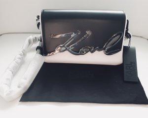 NEU Karl Lagerfeld Tasche K4851H05F schwarz weiß + Staubbeutel - Ausverkauft!!