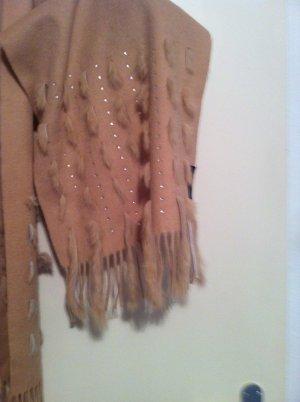 NEU! Kaschmir Fransenschal mit echtem Pelz und Swarovski Steinchen bestickt,NP=249€