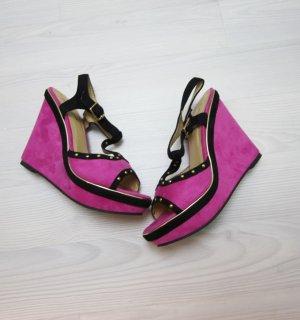 Wedge Sandals black-pink
