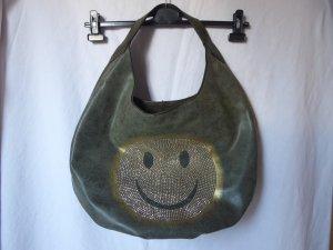 NEU: Khakifarbene Handtasche mit einem Smiley von Maestro