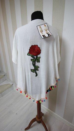 NEU Kimono Jacke Überwurf Sommer Fransen Rose Blume