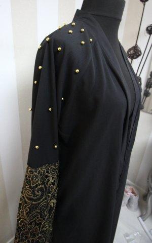 Floor-Lenght Coat black-gold-colored