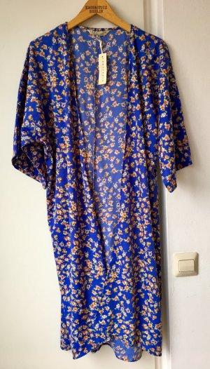 Neu Kimono Tunika Blumen Floral Blau Japan Trend Blogger Boho Hippie