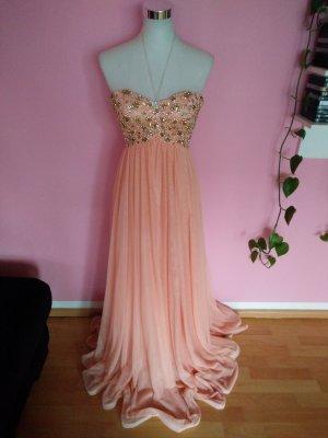 Vestido bandeau nude-rosa claro