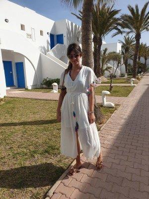 NEU Kleid Maxikleid weiß Tassen Strandkleid weiß S