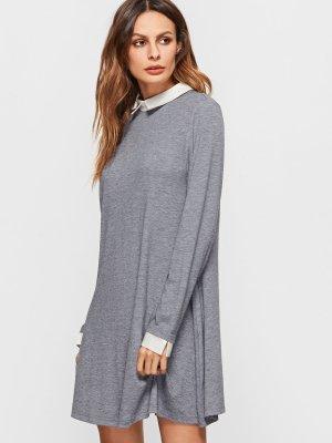 Neu! Kleid mit kontrastfarbenem Kragen und Manschetten, XS