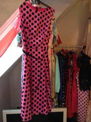 NEU Kleid Punkte Dots Bbonlinedress pink schwarz in 36 S