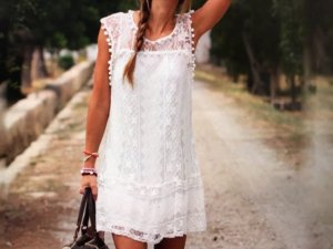 Vestido playero blanco Poliéster