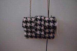 Neu-kleine-Tasche-Carpena-Elda-Tweed-schwarz-weiss-Hahnentrittmuster