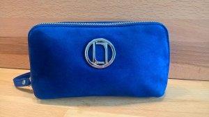 NEU Kosmetiktasche Laurel Echt Leder Blau/Flieder mit Taschenspiegel