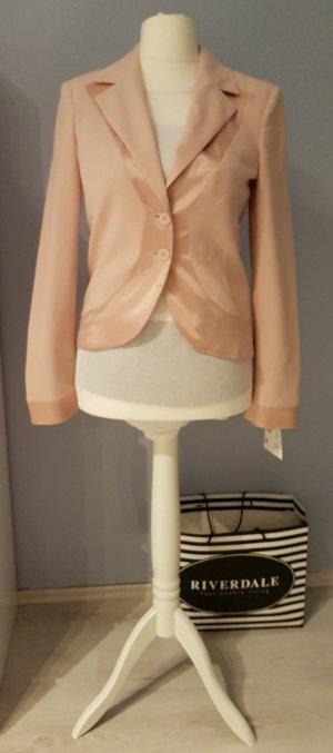 NEU kürzer DESIGN JÜRGEN MICHAELSEN BLAZER Rosé Kupfer Pastelrosé Hellrosa Bluse Rosa Pink Büro Sommer Urlaub Party Satin