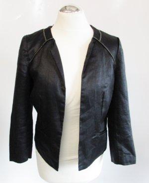 Neu Kurz Blazer Jacke promod Größe M 38 Schwarz Glanz Kette Ramie Cape