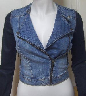 NEU Kurze Jeansjacke im Biker Look blau/schwarz mit Reißverschluss Gr. 34