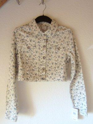 NEU: Kurze Jeansjacke mit Blumenprint - Größe 38