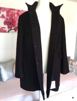Yessica Abrigo de lana negro-rojo oscuro tejido mezclado