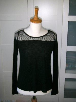 NEU, langärmliges Shirt mit Spitze, schwarz, H&M, Gr. 34