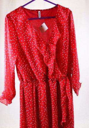 Neu Langarm Sommerkleid Chiffon Colloseum Größe L 38 40 Rot Weiß Punkte Rüschen V-Neck Volants Kleid Midikleid Romantisch