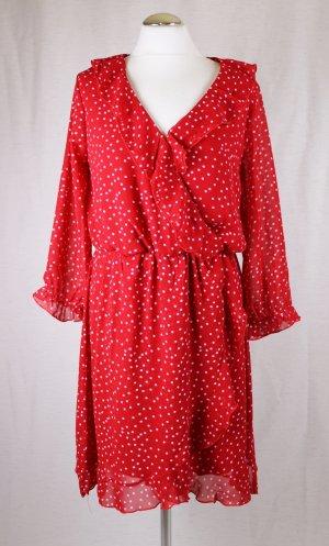 Neu Langarm Sommerkleid Chiffon Colloseum Größe XL 40 42 Rot Weiß Punkte Rüschen V-Neck Volants Kleid Midikleid