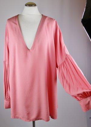 Neu Langarm Tunika Buse trompetenärmel H&M Größe 54 XXL Rose Altrosa Viskose V-Neck Oversize Bluse