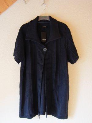 NEU: Lange Strickjacke mit 30% Wolle -  blau/XXL