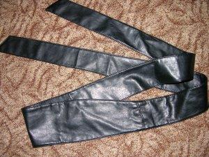 Neu! Langer Gürtel aus echtem Leder Länge 224 cm Schwarz