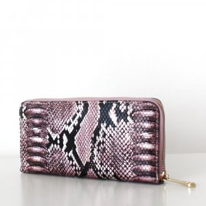 NEU LAURA Wallet Schlangenleder Optik Perlmutt Rosa Pink