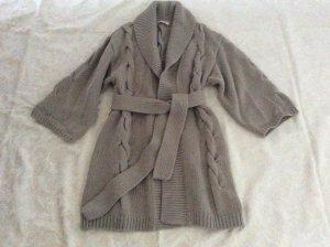 Neu Laurel Strick Zopf Mantel aus Wolle Größe 38 in silber / grau