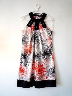 NEU *lavand* Sommerkleid, seidig, mit Print, schwarz, weiß, rotorange