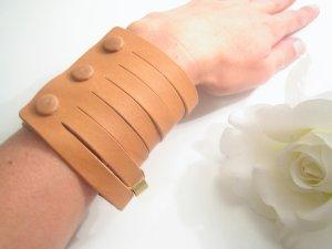 NEU +++ Leder Armband + Armreif Spange Vintage Gold ++ NEU