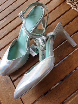 Benetton Tacones de tiras color plata