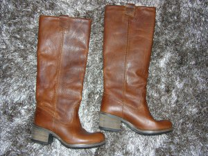 Cox Wide Calf Boots light brown