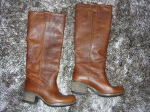 Cox Wide Calf Boots brown-cognac-coloured