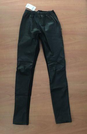 Hallhuber Pantalón de cuero negro Cuero