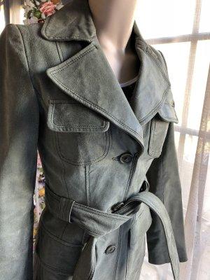 Orsay Leren jas grijs-groen
