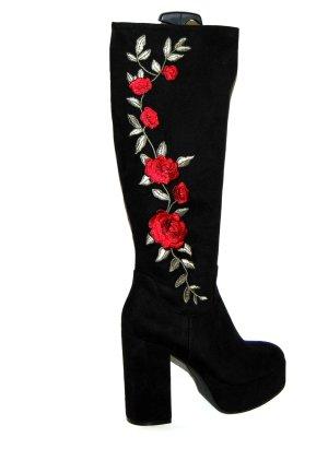 Catwalk Botas con plataforma negro-rojo oscuro Cuero
