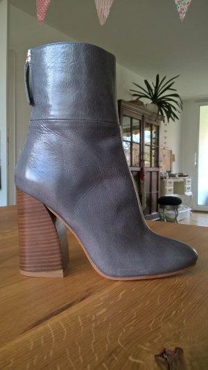 Zara Bottines à fermeture éclair gris ardoise cuir