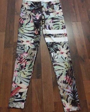 NEU Leggings Hose Blumen Print Sport Stronger S