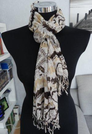 NEU leichter Schal mit Muster in beige-braun 160 x 57