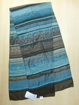 NEU: Leichtes Schal-Tuch mit schwarz-petrolfarbenen Muster