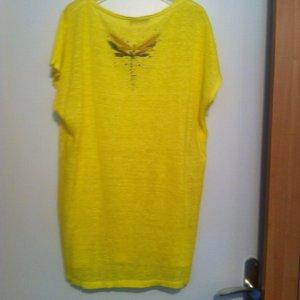 NEU! Leinen Longshirt, sonnengelb, mit 2 bestickten Schmetterlinge; NP=69€.