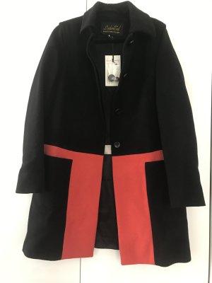 Manteau en laine noir-orange fluo laine