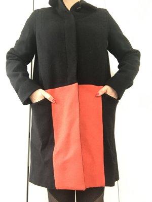 Wollen jas zwart-neonoranje Wol