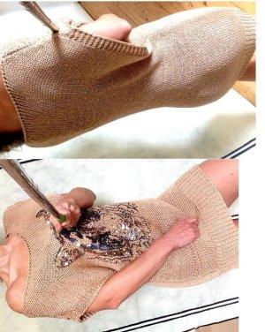 NEU! Long Pullover loose Tunika 36-38 M strickkleid gold