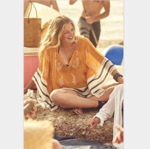 NEU Longbluse Strand Poncho Überwurf Kimono Bluse Bikini Ethno Hippie Einheitsgröße Over Size One Size 40 42 44 46