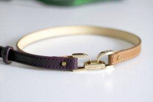 NEU Longchamp Armband braun/lila/gold aus Leder und Metall